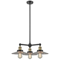 Innovations Lighting 207-BK-G2-LED Halophane LED 22 inch Matte Black Chandelier Ceiling Light