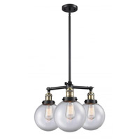 Innovations Lighting 207-BAB-G202-8 Large Beacon 3 Light 22 inch Black Antique Brass Chandelier Ceiling Light Franklin Restoration