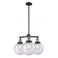 Innovations Lighting 207-BAB-G204-8 Large Beacon 3 Light 22 inch Black Antique Brass Chandelier Ceiling Light Franklin Restoration