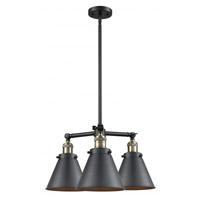 Innovations Lighting 207-BAB-M13-BK Appalachian 3 Light 21 inch Black Antique Brass Chandelier Ceiling Light Franklin Restoration