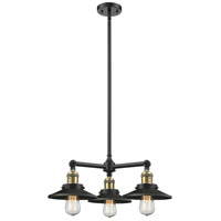 Innovations Lighting 207-BAB-M6 Railroad 3 Light 19 inch Black Antique Brass Chandelier Ceiling Light Franklin Restoration