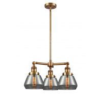 Innovations Lighting 207-BB-G173-LED Fulton LED 22 inch Brushed Brass Chandelier Ceiling Light Franklin Restoration