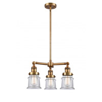 Innovations Lighting 207-BB-G182S Small Canton 3 Light 18 inch Brushed Brass Chandelier Ceiling Light Franklin Restoration