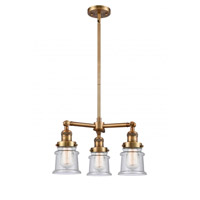 Innovations Lighting 207-BB-G184S-LED Small Canton LED 18 inch Brushed Brass Chandelier Ceiling Light Franklin Restoration