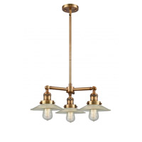 Innovations Lighting 207-BB-G2 Halophane 3 Light 22 inch Brushed Brass Chandelier Ceiling Light Franklin Restoration