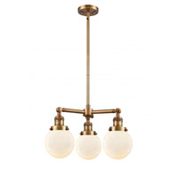 Innovations Lighting 207-BB-G201-6 Beacon 3 Light 19 inch Brushed Brass Chandelier Ceiling Light Franklin Restoration