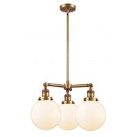 Innovations Lighting 207-BB-G201-8 Large Beacon 3 Light 22 inch Brushed Brass Chandelier Ceiling Light Franklin Restoration
