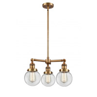 Innovations Lighting 207-BB-G202-6 Beacon 3 Light 19 inch Brushed Brass Chandelier Ceiling Light Franklin Restoration