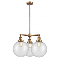 Innovations Lighting 207-BB-G204-10 Extra Large Beacon 3 Light 24 inch Brushed Brass Chandelier Ceiling Light Franklin Restoration