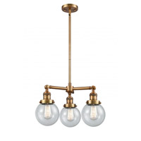 Innovations Lighting 207-BB-G204-6 Beacon 3 Light 19 inch Brushed Brass Chandelier Ceiling Light Franklin Restoration