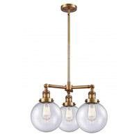 Innovations Lighting 207-BB-G204-8 Large Beacon 3 Light 22 inch Brushed Brass Chandelier Ceiling Light Franklin Restoration
