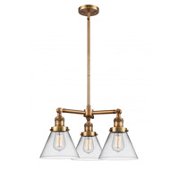 Innovations Lighting 207-BB-G42 Large Cone 3 Light 22 inch Brushed Brass Chandelier Ceiling Light Franklin Restoration