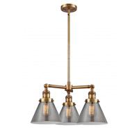 Innovations Lighting 207-BB-G43 Large Cone 3 Light 22 inch Brushed Brass Chandelier Ceiling Light Franklin Restoration