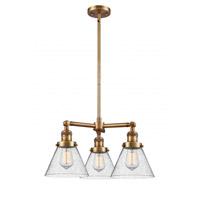 Innovations Lighting 207-BB-G44 Large Cone 3 Light 22 inch Brushed Brass Chandelier Ceiling Light Franklin Restoration