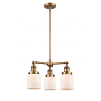 Innovations Lighting 207-BB-G51 Small Bell 3 Light 19 inch Brushed Brass Chandelier Ceiling Light Franklin Restoration