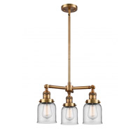 Innovations Lighting 207-BB-G52 Small Bell 3 Light 19 inch Brushed Brass Chandelier Ceiling Light Franklin Restoration