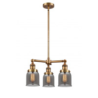 Innovations Lighting 207-BB-G53 Small Bell 3 Light 19 inch Brushed Brass Chandelier Ceiling Light Franklin Restoration