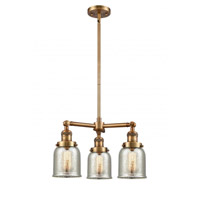 Innovations Lighting 207-BB-G58 Small Bell 3 Light 19 inch Brushed Brass Chandelier Ceiling Light Franklin Restoration