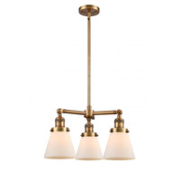 Innovations Lighting 207-BB-G61 Small Cone 3 Light 19 inch Brushed Brass Chandelier Ceiling Light Franklin Restoration