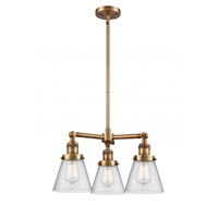 Innovations Lighting 207-BB-G64 Small Cone 3 Light 19 inch Brushed Brass Chandelier Ceiling Light Franklin Restoration