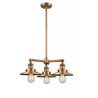 Innovations Lighting 207-BB-M4 Railroad 3 Light 19 inch Brushed Brass Chandelier Ceiling Light Franklin Restoration