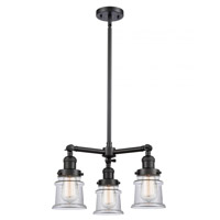 Innovations Lighting 207-BK-G182S Small Canton 3 Light 18 inch Matte Black Chandelier Ceiling Light Franklin Restoration