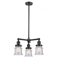 Innovations Lighting 207-BK-G184S Small Canton 3 Light 18 inch Matte Black Chandelier Ceiling Light Franklin Restoration