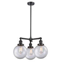 Innovations Lighting 207-BK-G202-8-LED Large Beacon LED 22 inch Matte Black Chandelier Ceiling Light Franklin Restoration