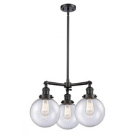 Innovations Lighting 207-BK-G204-8-LED Large Beacon LED 22 inch Matte Black Chandelier Ceiling Light Franklin Restoration