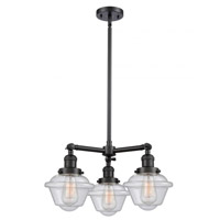 Innovations Lighting 207-BK-G534-LED Small Oxford LED 20 inch Matte Black Chandelier Ceiling Light Franklin Restoration