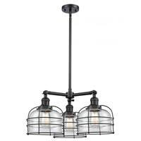 Innovations Lighting 207-BK-G72-CE-LED Large Bell Cage LED 24 inch Matte Black Chandelier Ceiling Light Franklin Restoration