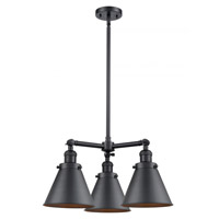 Innovations Lighting 207-BK-M13-BK Appalachian 3 Light 21 inch Matte Black Chandelier Ceiling Light Franklin Restoration