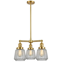 Innovations Lighting 207-SG-G142 Chatham 3 Light 24 inch Satin Gold Chandelier Ceiling Light Franklin Restoration