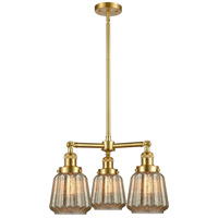 Innovations Lighting 207-SG-G146 Chatham 3 Light 24 inch Satin Gold Chandelier Ceiling Light Franklin Restoration