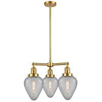 Innovations Lighting 207-SG-G165 Geneseo 3 Light 26 inch Satin Gold Chandelier Ceiling Light Franklin Restoration