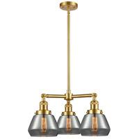 Innovations Lighting 207-SG-G173 Fulton 3 Light 22 inch Satin Gold Chandelier Ceiling Light Franklin Restoration