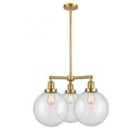 Innovations Lighting 207-SG-G202-10 X-Large Beacon 3 Light 24 inch Satin Gold Chandelier Ceiling Light Franklin Restoration