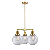 Innovations Lighting 207-SG-G202-8 Large Beacon 3 Light 22 inch Satin Gold Chandelier Ceiling Light Franklin Restoration