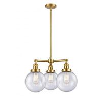 Innovations Lighting 207-SG-G204-8-LED Large Beacon LED 22 inch Satin Gold Chandelier Ceiling Light Franklin Restoration