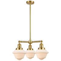 Innovations Lighting 207-SG-G531-LED Small Oxford LED 20 inch Satin Gold Chandelier Ceiling Light, Franklin Restoration