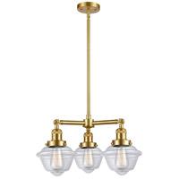 Innovations Lighting 207-SG-G532-LED Small Oxford LED 20 inch Satin Gold Chandelier Ceiling Light, Franklin Restoration