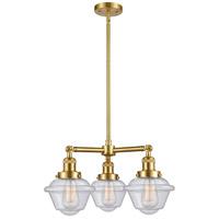 Innovations Lighting 207-SG-G534-LED Small Oxford LED 20 inch Satin Gold Chandelier Ceiling Light, Franklin Restoration