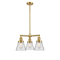 Innovations Lighting 207-SG-G62-LED Small Cone LED 19 inch Satin Gold Chandelier Ceiling Light Franklin Restoration