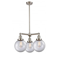 Innovations Lighting 207-SN-G202-8 Large Beacon 3 Light 22 inch Satin Nickel Chandelier Ceiling Light Franklin Restoration