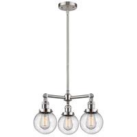 Innovations Lighting 207-SN-G204-6-LED Beacon LED 19 inch Brushed Satin Nickel Chandelier Ceiling Light Franklin Restoration
