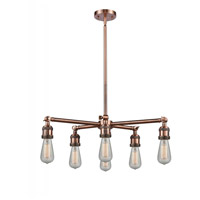 Innovations Lighting 207NH-6CR-AC Bare Bulb 6 Light 26 inch Antique Copper Chandelier Ceiling Light Franklin Restoration