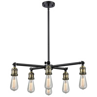 Innovations Lighting 207NH-6CR-BAB Bare Bulb 6 Light 26 inch Black Antique Brass Chandelier Ceiling Light Franklin Restoration