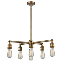 Innovations Lighting 207NH-6CR-BB Bare Bulb 6 Light 26 inch Brushed Brass Chandelier Ceiling Light Franklin Restoration