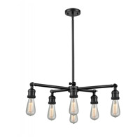 Innovations Lighting 207NH-6CR-BK Bare Bulb 6 Light 26 inch Matte Black Chandelier Ceiling Light Franklin Restoration