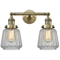 Innovations Lighting 208-AB-G142-LED Chatham LED 16 inch Antique Brass Bathroom Fixture Wall Light